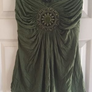 Sky olive green strapless top